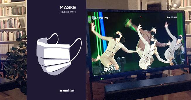 """Collage aus Buchcover """"Maske"""" und Foto einer Tanzaufführung mit maskierten Personen"""